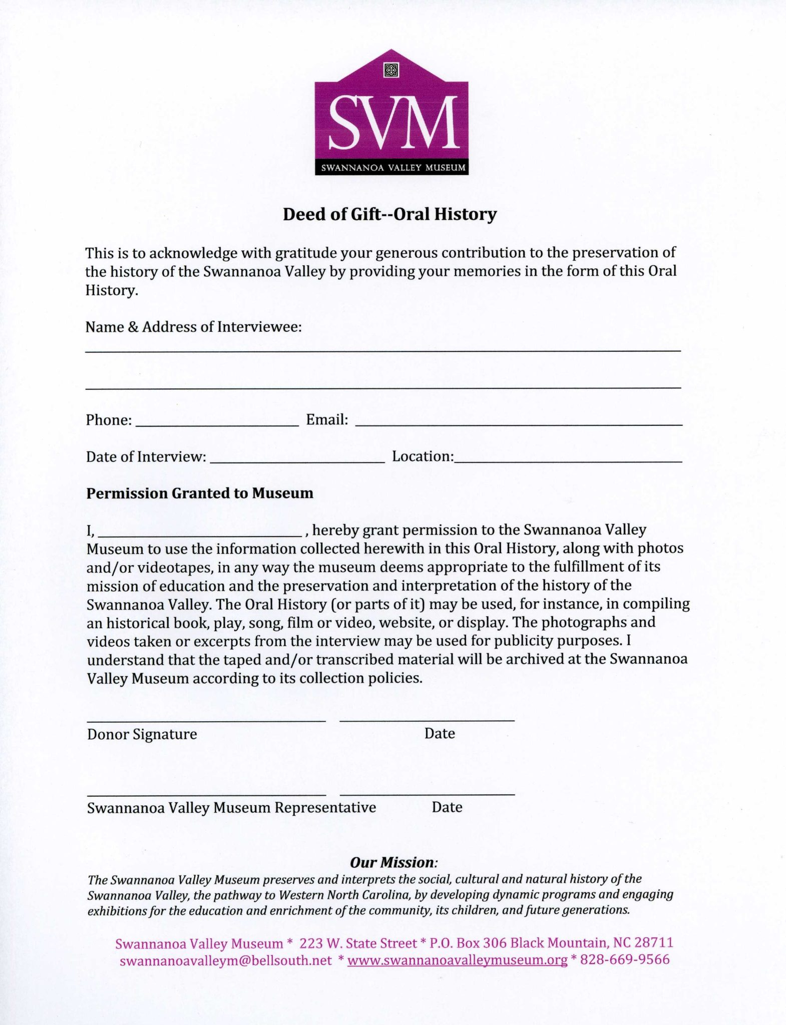 Deed of Gift – Oral History   Swannanoa Valley Museum & History Center