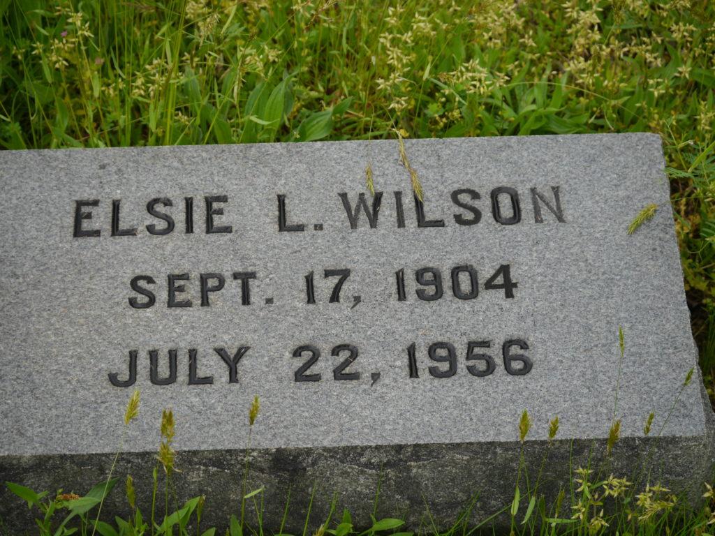 Elsie L Wilson headstone reading Sept. 17, 1904 - July 22, 1956